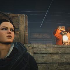 Evie échappant à la vue d'un Blighter