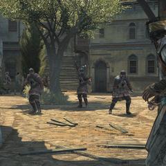 <b>Yusuf</b> et Ezio face à des gardes byzantins