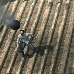 Ezio esquivant un boulet de canon