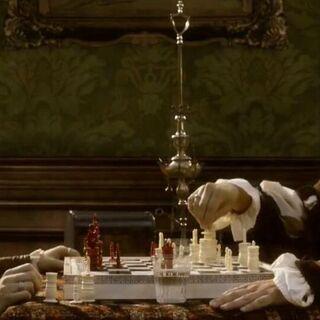 <b>Federico</b> affrontant Ezio aux échecs