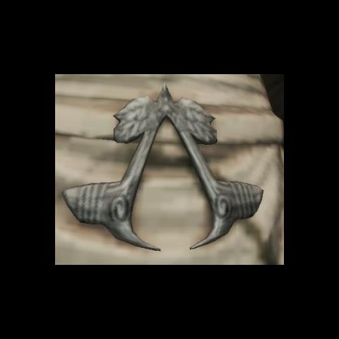 Die Assassineninsignie an der Statue von Iltani