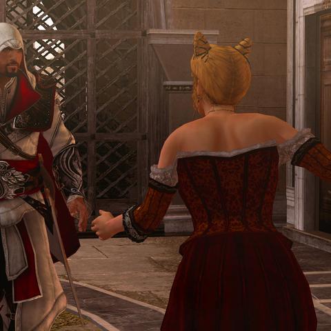 Les courtisanes informant Ezio de l'incident
