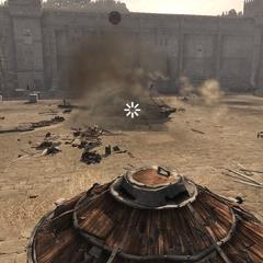 Ezio détruisant un char ennemi