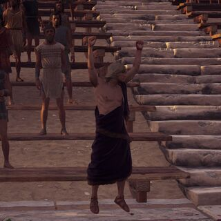 阿爾西比亞狄斯在潘克拉辛比賽的觀眾席上