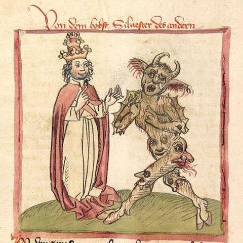 一张绘制于1460年的插画,讽刺西尔维斯特与魔鬼勾结