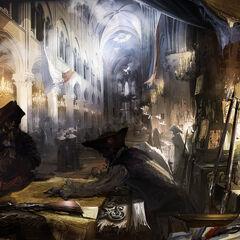 巴黎圣母院内部的概念设定图