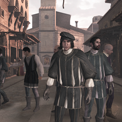 Vieri et ses partisans sur le Ponte Vecchio