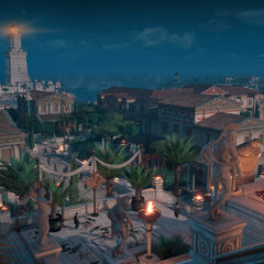 Alexandria at night as seen from the Serapeum