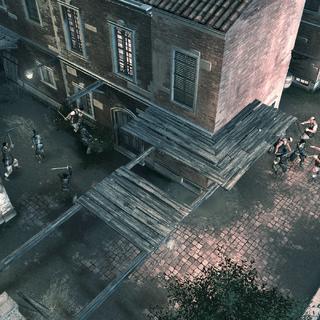Les mercenaires s'attaquant aux gardes de Silvio