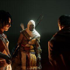 Khemou apposant la plume de son père sur Flavius