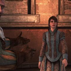 Bartolomeo stelt Pantasilea voor aan Ezio.