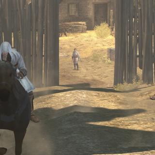 Père et fils fuyant à cheval