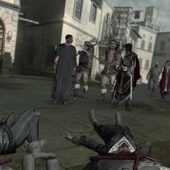 Ezio et Machiavelli devant des cadavres de soldats Borgia.