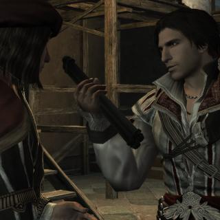 Ezio offrant la page du Codex à Leonardo