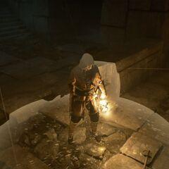 Arno utilisant le Fragment contenu dans la lanterne pour fuir le <b>temple</b>