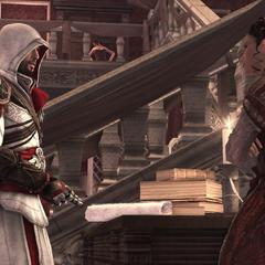 Ezio praat met Claudia.