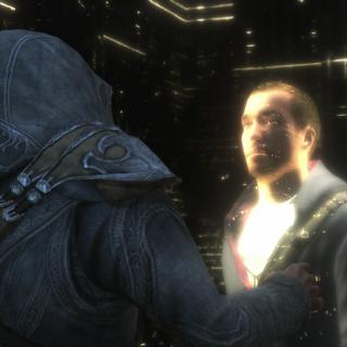 Ezio Auditore contactant Desmond Miles lors d'un <b>Nexus temporel</b>