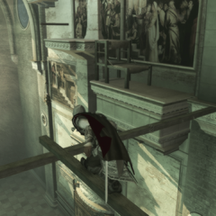 Ezio se déplaçant de poutre en poutre