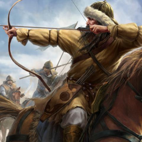 旭烈兀在马背上弯弓搭箭