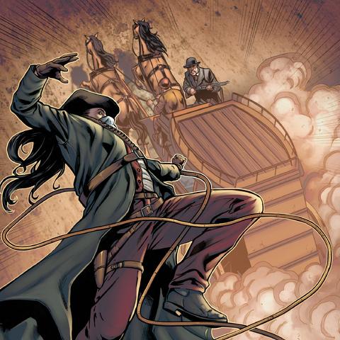 L<b>Assassin américain</b> attaquant la diligence de Sutter