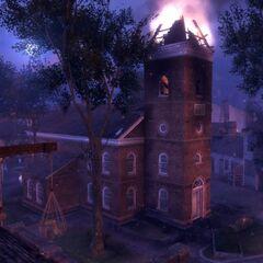 夜晚的查爾斯鎮鎮中心