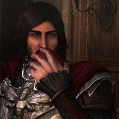 Cesare croquant dans la pomme empoisonnée