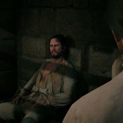 Bellec apprenant à Arno que son père était un Assassin