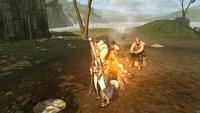 Connor i podróżnik w opuszczonej wiosce Kanatahséton (by Kubar906)