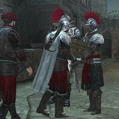 Ezio remettant le coffre au garde