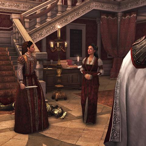 Maria is blij om te zien dat Ezio zich realiseert dat zijn zus goed haar mannetje kan staan.