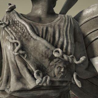 被描绘在上雅典娜的大理石雕像的埃癸斯