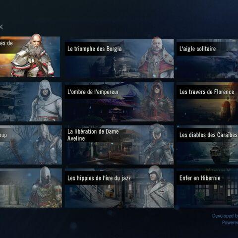 L'écran des chapitres de jeu d'<b>Helix</b>