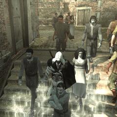 Ezio et Claudio se mêlant à la foule