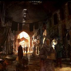 Concept-art du <b>Grand Bazar</b> dans <i><a href=