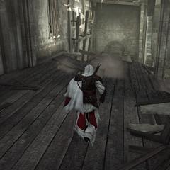 Le plancher s'écroulant sous les pieds d'Ezio