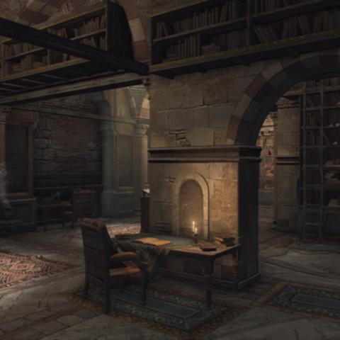 Ezio's Schreibtisch in der Bibliothek.