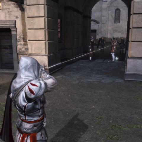 Ezio visant la cible avec son <a href=