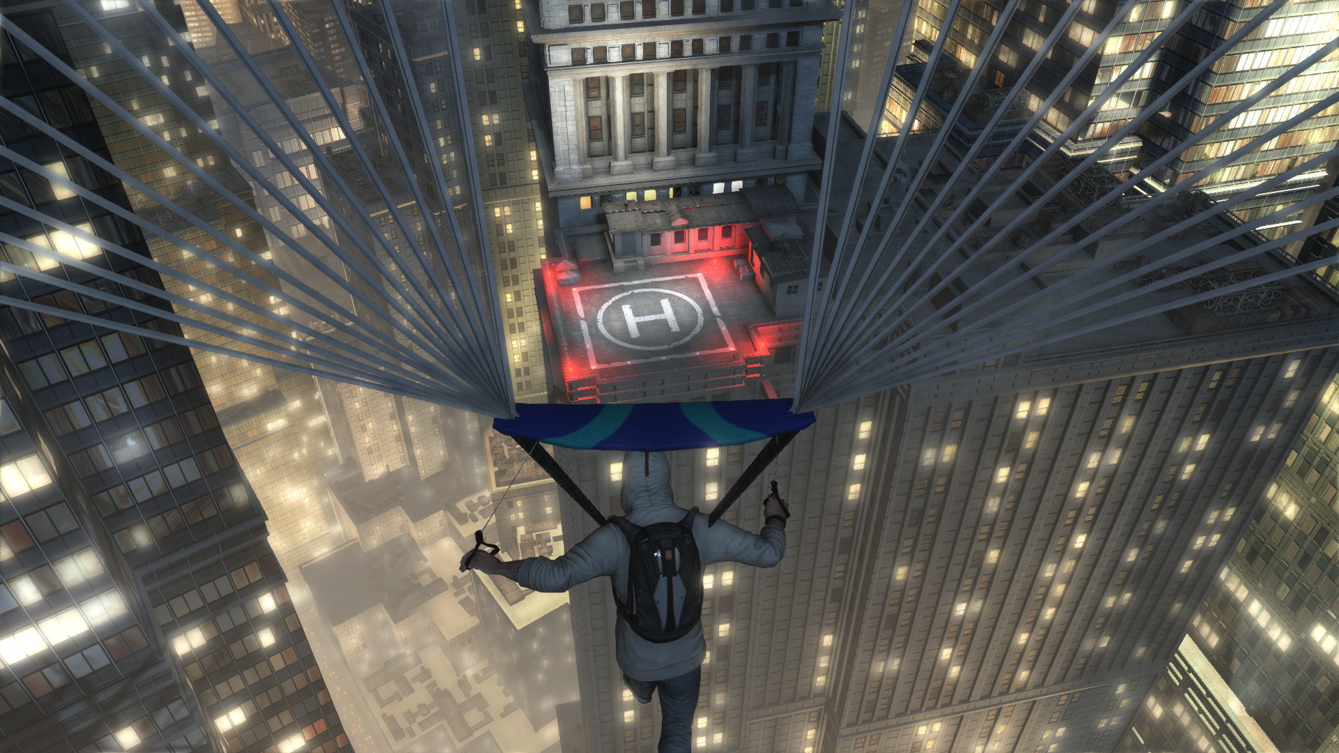 Desmond Parachuting Onto A New York Skyscraper