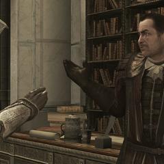 Ezio interrogeant Mario au sujet de Jacopo de' Pazzi