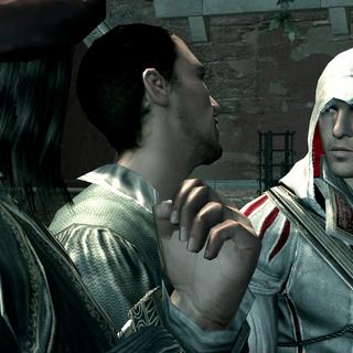 <b>Alvise</b> faisant la visite de Venise à Ezio et Léonard