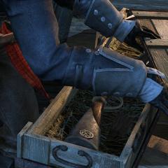 谢伊在圣殿骑士的船上揭开气步枪箱子的盖子