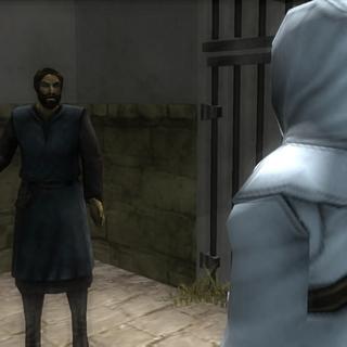 L'<b>agent</b> apprenant à Altaïr que des émeutes se sont déclenchées