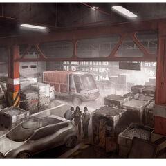 藏身处仓库的艺术概念