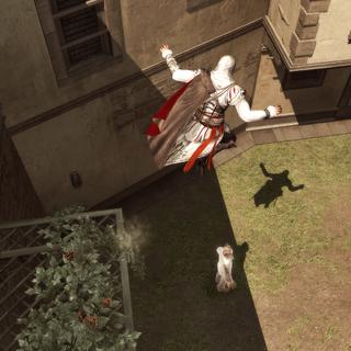 Ezio effectuant un assassinat aérien sur un mannequin