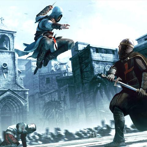 阿泰尔袭击一名圣殿骑士的宣传艺术图