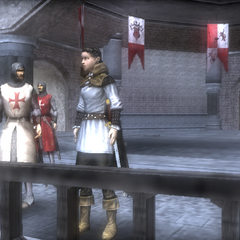A Templar telling Maria that she won't be allowed to travel to Cyprus with them