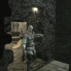 Ezio quittant l'église