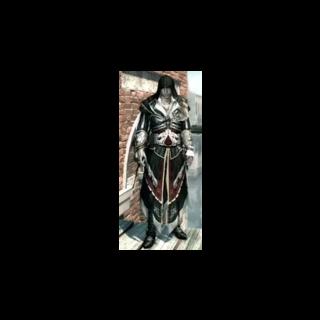 Ezio avec <b>l'armure d'Altaïr</b> dans sa jeunesse.