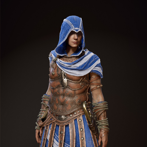 Kassandra wearing Odysseus' armor