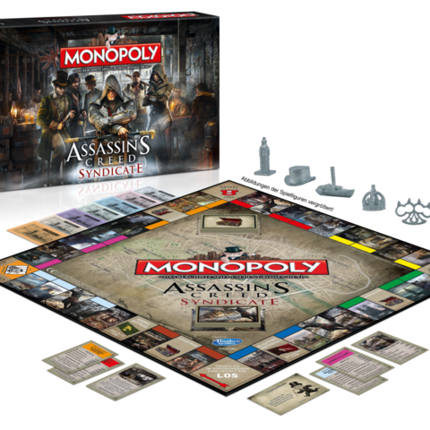 <i>Monopoly: Assassin's Creed Syndicate</i> box contents